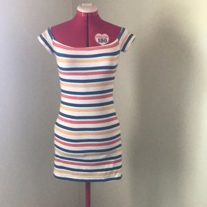 MinkPink off the shoulder striped body con dress